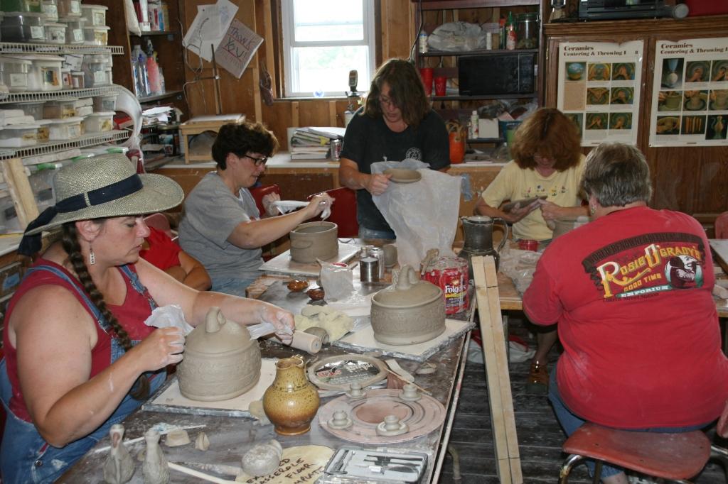 Workshop group making casseroles