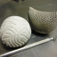 Make Seven: two more clay stoneware rattles.